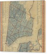 Vintage Map Of New York City - 1846 Wood Print