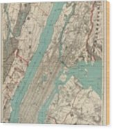 Vintage Map Of New York City - 1890 Wood Print