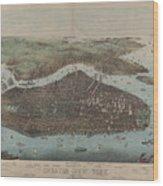 Vintage Map Of New York City - 1905 Wood Print