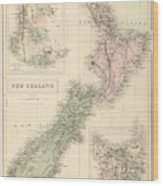 Vintage Map Of New Zealand - 1854 Wood Print