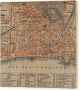 Vintage Map Of Nice France - 1914 Wood Print