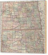 Vintage Map Of North And South Dakota - 1891 Wood Print