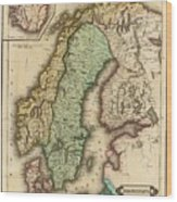 Vintage Map Of Norway And Sweden - 1831 Wood Print