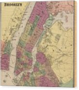 Vintage Map Of Nyc And Brooklyn - 1868 Wood Print