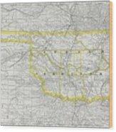 Vintage Map Of Oklahoma - 1889 Wood Print