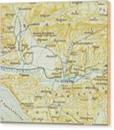 Vintage Map Of Olympia Greece - 1894 Wood Print