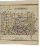 Antique Map Of Pennsylvania Wood Print