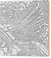 Vintage Map Of Pittsburgh - 1885 Wood Print