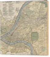 Vintage Map Of Pittsburgh Pa - 1891 Wood Print
