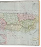 Vintage Map Of Puerto Rico - 1901 Wood Print