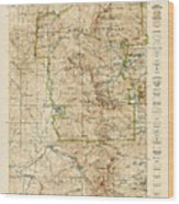 Vintage Map Of Rocky Mountain National Park - Colorado - 1919/1940 Wood Print