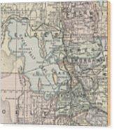 Vintage Map Of Salt Lake City - 1891 Wood Print