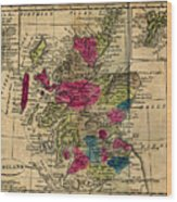 Vintage Map Of Scotland - 1808 Wood Print