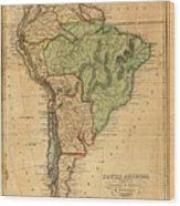 Vintage Map Of South America - 1821 Wood Print