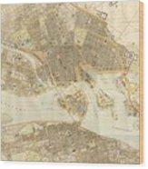 Vintage Map Of Stockholm  Wood Print