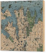 Vintage Map Of Sydney Australia - 1922 Wood Print