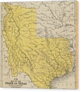 Vintage Map Of Texas - 1847 Wood Print