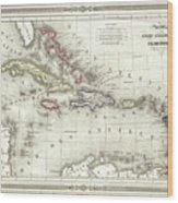 Vintage Map Of The Caribbean - 1852 Wood Print