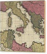 Vintage Map Of The Mediterranean - 1695 Wood Print