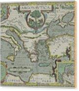 Vintage Map Of The Mediterranean Sea - 1608 Wood Print