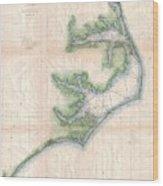 Vintage Map Of The North Carolina Coast  Wood Print