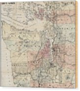 Vintage Map Of The Puget Sound - 1891 Wood Print