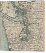 Vintage Map Of The Puget Sound - 1910 Wood Print