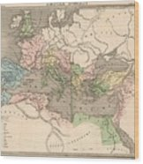 Vintage Map Of The Roman Empire - 1838 Wood Print
