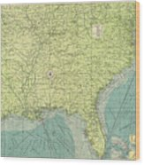 Vintage Map Of The Southeastern U.s. Ports - 1922 Wood Print