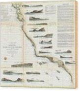 Vintage Map Of The U.s. West Coast - 1853 Wood Print