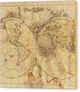 Vintage Map Of The World Wood Print by Michal Boubin