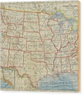 Vintage Map Of United States, 1883 Wood Print