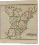 Antique Map Of United States Wood Print