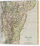 Vintage Map Of Vermont - 1797 Wood Print