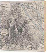 Vintage Map Of Vienna Austria - 1906 Wood Print