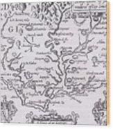 Vintage Map Of Virginia Wood Print