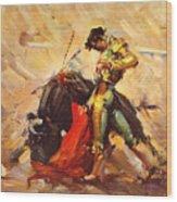 Vintage Mexico Bullfight Travel Poster Wood Print