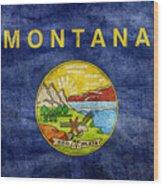 Vintage Montana Flag Wood Print