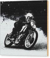 Vintage Motorcycle Racer Wood Print