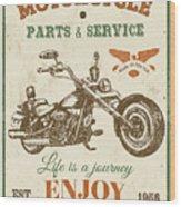 Vintage Motorcycling Mancave-c Wood Print