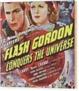 Vintage Movie Posters, Flash Godon Conquers The Universe Wood Print
