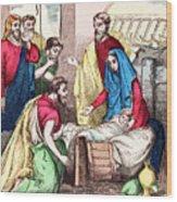 Vintage Nativity Scene Wood Print