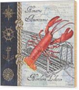 Vintage Nautical Lobster Wood Print