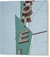 Vintage Neon Sign Hotel Livingston Montana Wood Print