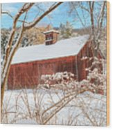 Vintage New England Barn Portrait Wood Print by Bill Wakeley