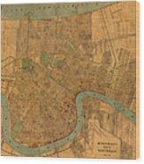 Vintage New Orleans Louisiana Street Map 1919 Retro Cartography Print On Worn Canvas Wood Print