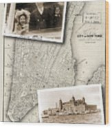 Vintage New York Map With Ellis Island Wood Print