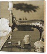 Vintage Notions In Sepia Tones Wood Print