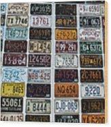 Vintage Number Plates Wood Print