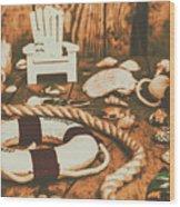 Vintage Ocean Porthole Wood Print